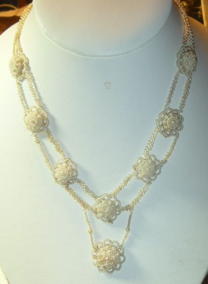 Antique Georgian Seed Pearl Necklace With Blonde Hair  & Gold Clasp