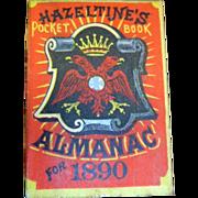Antique 1890 Hazeltines Almanac 1890