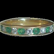 Vintage 14K Gold Diamond & Emerald Ring