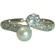 Antique Victorian 14 K & Silver Natural Pearl Diamond Ring