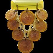 Wonderful & Rare BAKELITE Dangling Lemons Bar Pin!