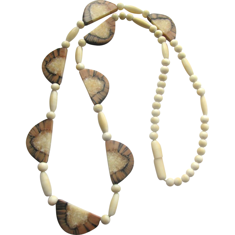 Alaska Indian Eskimo Walrus Teeth and Ivory Necklace