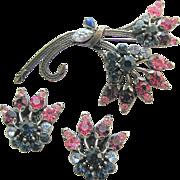 FLORENZA Pink & Purple Rhinestones Floral Pin & Earrings!