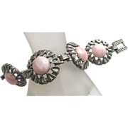 Fun & Chunky Pink Lucite and Silver Tone Bracelet!