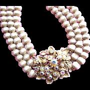 FLORENZA White Beads & Rhinestones Necklace