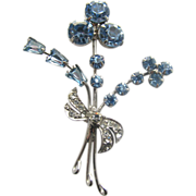 Dainty Blue & Clear Rhinestones Stylized Flower Pin