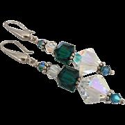 Stunning - Emerald and Aurora Borealis Swarovski Crystal, Bali Sterling Silver - 2 5/8 Inch Dangle Earrings