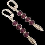 Mesmerizing ! Vivid Purple Amethyst Swarovski Crystal, Sterling Silver Dangle Earrings - FREE U.S. Domestic Shipping !!