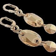 Golden Shadow - Swarovski Crystal - Owlet and Teardrop - Dangle Earrings