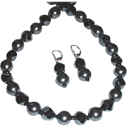 Gorgeous Reflective Hematite, Swarovski Crystal Pearl, Matching Necklace and Earring Set