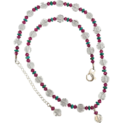 Dazzling - Facet Cut Swarovski Crystal Clear Coins, Pink Fuchsia, Stabilized Turquoise Necklace