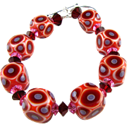 One-Of-A-Kind - Ruby Red Passion Cubes, Italian Moretti Glass Lampwork, Swarovski Crystal Bracelet - Wearable Art