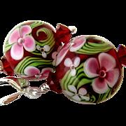 Ruby Red, Pink Florals, Italian Moretti Glass Lampwork Beaded, Swarovski Crystal, Sterling Silver - Wearable Art Dangle Earrings