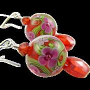Tangerine Orange, Pink Florals, Italian Moretti Glass Lampwork Beaded, Cubic Zirconia and Swarovski Crystal, Wearable Art Dangle Earrings
