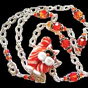 Orange Julius - Italian Moretti Glass Lampwork Kitty Focal, Swarovski Crystal, Sterling Silver - Necklace and Earring Set - Wearable Art