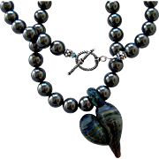 One-Of-A-Kind - Artisan Free Form Boro Glass Heart Focal, Swarovski Crystal Pearl, 22 Inch, Wearable Art Necklace