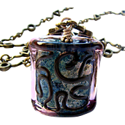 Brassy Mosaic, Italian Moretti Glass Lampwork Focal, 28 Inch Wearable Art Necklace