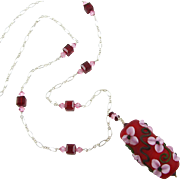 One-Of-A-Kind - Forever Blooming, Etched Italian Moretti Glass Lampwork Floral Artisan Focal, Swarovski Crystal, Sterling Silver, 30 Inch, Wearable Art Artisan Necklace