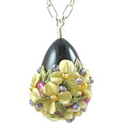Forever Blooming, Italian Moretti Glass - Artisan Lampwork Floral Focal, Sterling Silver 22 Inch Necklace - Wearable Art !