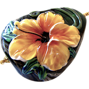 """One-Of-A-Kind - Golden Dimensional Floral (Forever Blooming), Italian Moretti Glass Lampwork Artisan Focal, 30"""" Vermeil Hammered Ring Necklace … Wearable Art !"""