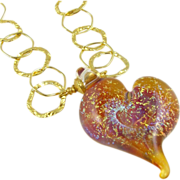 One-Of-A-Kind - Mesmerizing Galaxy Shimmer - Dichroic Glass, Artisan Lampwork Heart Focal, Vermeil Necklace - Wearable Art !