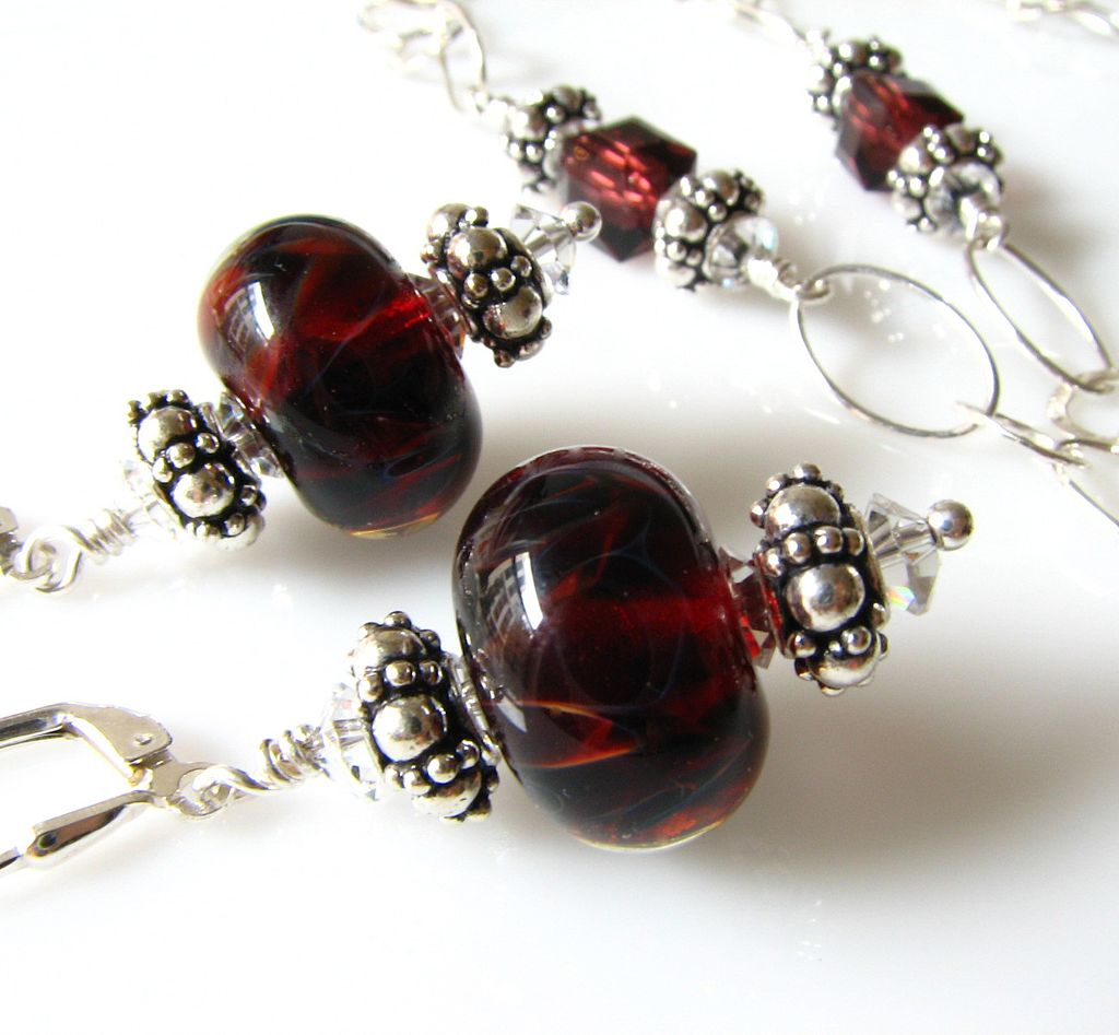One-Of-A-Kind - Deep Red Boro Glass Lampwork Beaded Focal, Swarovski Crystal, Sterling Silver Necklace & Matching Earrings - Wearable Art