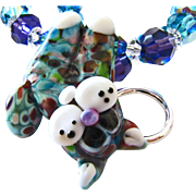 Tie-Dyed - Italian Moretti Glass Lampwork Kitty Focal, Swarovski Crystal, Necklace and Earring Set - Wearable Art !