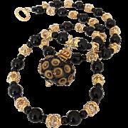 One-Of-A-Kind - Italian Moretti Glass Lampwork Focal, Black Onyx, Swarovski Crystal, Vermeil - 24 Inch Wearable Art Necklace !