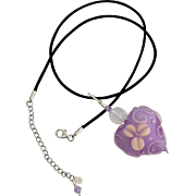 Italian Moretti Glass, Etched Violet Floral Heart, Lampwork Beaded Focal Pendant Necklace - One-Of-A-Kind Wearable Art