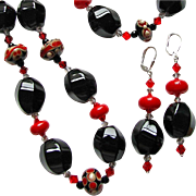 One-Of-A-Kind - Dynamic Elliptical Flowing, Artisan Lampwork Necklace and Earrings - Wearable Art !
