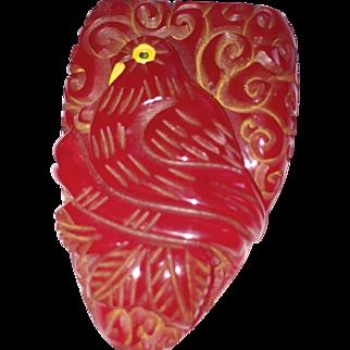 Cherry Red Bakelite Bird Clip