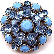 Schreiner Baby Blue Glass Pin Brooch