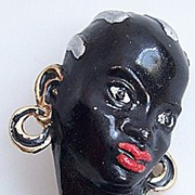 Vintage German Enameled Female Blackamoor Face Pin