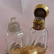 Pair of French 18K Gold & Crystal Scent Bottles