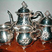 1890 Victorian Quadruple  Silver Plated Four Piece Tea Set by Monarch Silver Co.