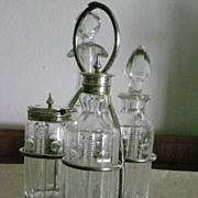 Early 1900's Four Bottles Small Cruet Set