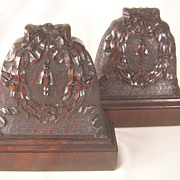 Carved Floral Mahogany Bookends