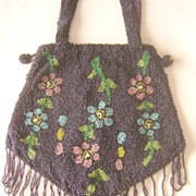 Victorian Beaded Purse, Bag, Floral, Double Handles