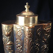 Gorgeous Silver on Copper Floral Repousse Tea Caddy
