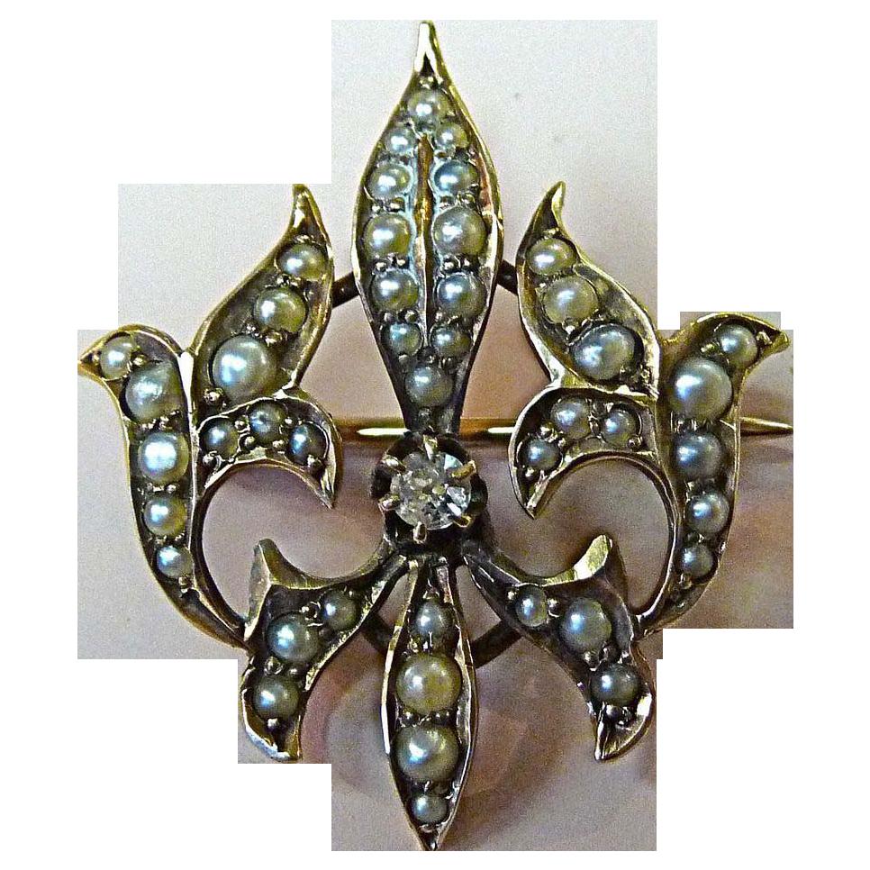 Antique 10K Rose Gold Seed Pearl Fleur-de-Lis Pin w Mine Cut Diamond