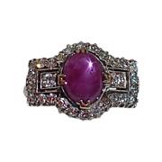 Art Deco 14k & Platinum Star Ruby & Diamond Ring