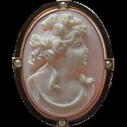 Antique 10k Rosalyn Shell Cameo Pin/ Pendant