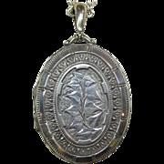 Ornate Sterling Foliate Engraved Large Oval Locket
