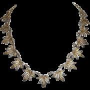 Fine Vermeil Sterling Filigree Flowery Leaf Necklace