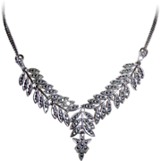 Sterling Silver Glittering Marcasite Necklace c1950s