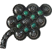Old Sterling Stylized Grapes Pin w Turquoise