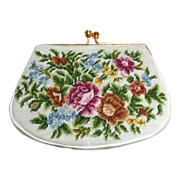 Fine Silk Floral Needlepoint Miniature Purse Mint