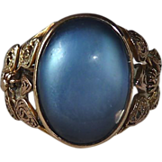 Glowing Pearl Blue Cab 14k Filigree Gold Ring