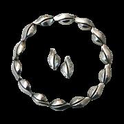 Modernist Denmark Sterling Necklace & Earrings