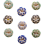 SOLD Nine Vintage China Color Stencil Buttons